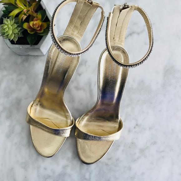 new products e5c15 52fa7 Donna Più Gold Strappy Heel 10 Rhinestone Prom NWT